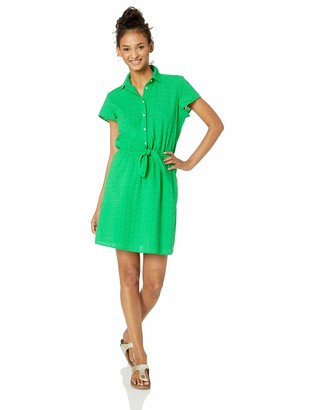 J.Crew Mercantile Women's Short-Sleeve Eyelet Collared Tie Front Dress