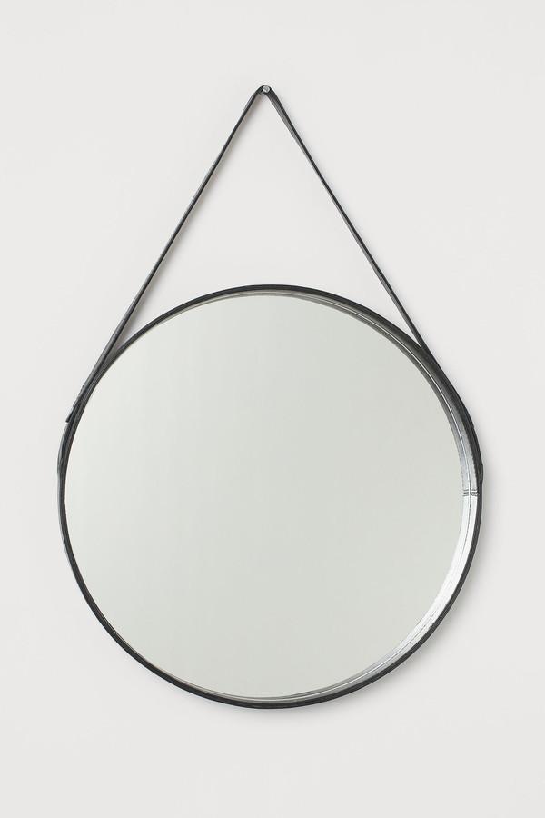H&M Leather-framed Round Mirror
