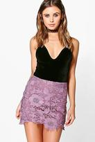 boohoo Petite Nora Crochet Mini Skirt
