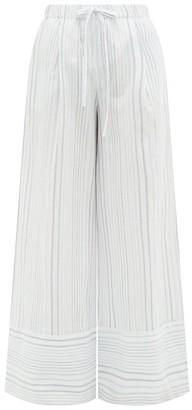 Loup Charmant Olympia Striped-cotton Palazzo Trousers - Blue Stripe