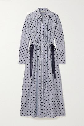Jason Wu Cutout Flocked Striped Cotton-poplin Midi Shirt Dress
