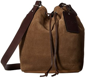 Filson Rugged Suede Crossbody Bucket Bag (Canteen Brown) Cross Body Handbags