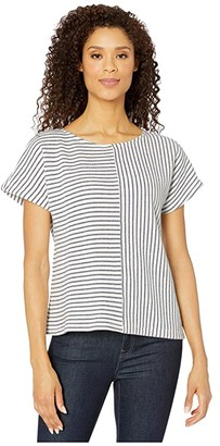 Mod-o-doc Nautical Stripe Terry Dolman Sleeve Top (Navy) Women's Clothing