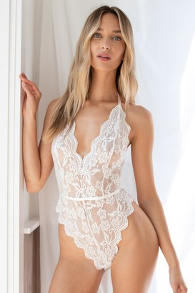 Nasty Gal Womens Lace Stay Together Plunging High-Leg Bodysuit - White