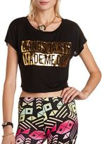 Charlotte Russe Foiled Graphic Crop Top