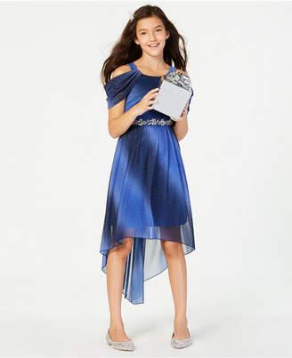 Sequin Hearts Big Girls Cold-Shoulder Ombre Dress
