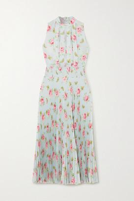 Prada Pleated Floral-print Crepe Midi Dress - Blue