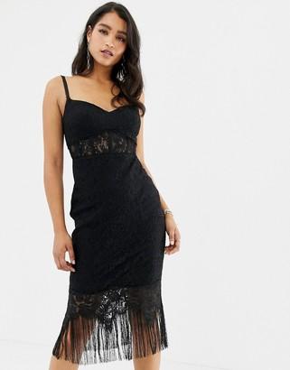 Forever New lace corset midi dress with tassel hem in black