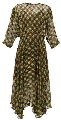 Preen by Thornton Bregazzi Brooke Checked Devore-velvet Midi Dress - Womens - Green Print