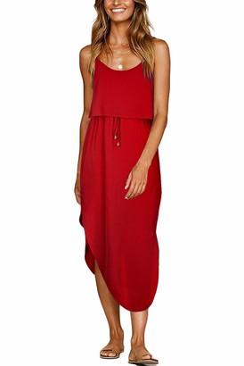 Odosalii Women Casual Adjustable Spaghetti Strap Sundress Summer Split Beach Midi Dress Red