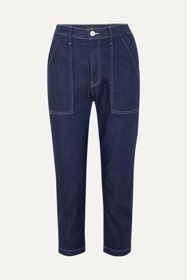 3x1 Sabine Cropped Contrast-stitch Jeans - Dark denim
