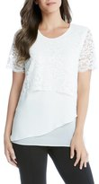 Karen Kane Multilayer Lace & Crepe Top