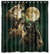 fashion shower curtain Generic Turquoise Moon and Wolfs Emerald Waterproof Polyester Fabric Custom Shower Curtain 66