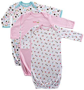 Luvable Friends Girls' Infant Gowns Pink - Pink Dot & Cake Print Rib Knit Gown Set - Newborn