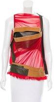 Balenciaga Leather-Trimmed Mesh Top