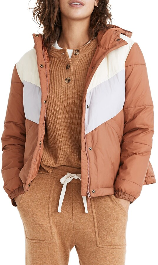 Chevron Colorblock Packable Puffer Jacket