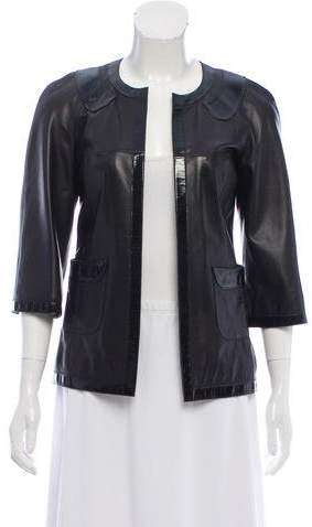 Chanel Leather Open Front Jacket