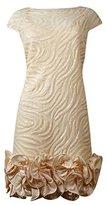Jessica Simpson Women's Sequin Zebra Mesh Dress with Satin Ruffle