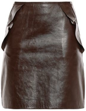 Sandro Elgantier Ruffle-trimmed Leather Mini Skirt