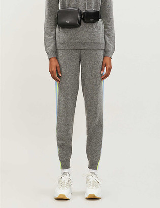 Chinti and Parker Side-stripe logo-embroidered cashmere jogging bottoms