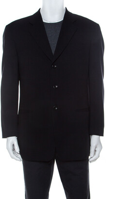 Armani Collezioni Navy Blue Wool Single Breasted Blazer XL