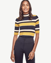 Ann Taylor Striped Funnel Neck Top