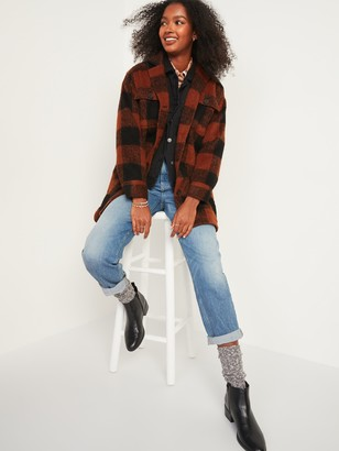 Old Navy Oversized Soft-Brushed Plaid Long Shirt Jacket for Women