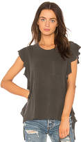 NSF Makayla Ruffle Tee in Charcoal. - size L (also in M,S,XS)