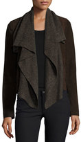 Bagatelle Suede & Ribbed-Knit Waterfall Jacket, Brown