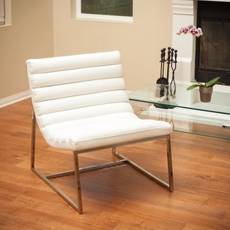 Noble House Patrick Modern Faux Leather Accent Chair, White