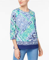 Alfred Dunner Montego Bay Petite Printed Lattice-Neck Top