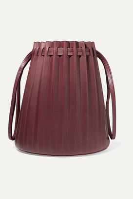 Mansur Gavriel Pleated Leather Bucket Bag - Burgundy
