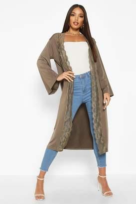 boohoo Lace Trim Maxi Kimono