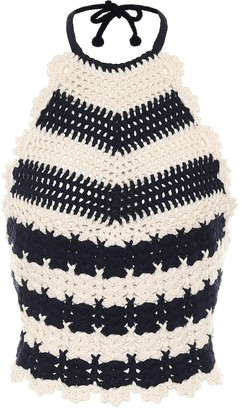 Gucci Striped wool-crochet halterneck top