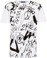 Topman White Painted Scribbles Print Supersize T-Shirt