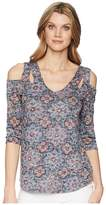 Tribal Printed Burnout 3/4 Sleeve Cold Shoulder Top Women's Clothing