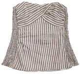 Nanette Lepore Taupe & Cream Striped Tube Top