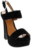 Qupid Lace Thick Heel Open toe Sandal Slingback High Heel shoes sz.9