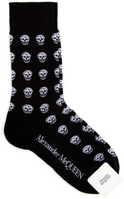 Alexander McQueen All Over Skull Intarsia Socks