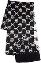 Michael Kors Women's Circle Logo Knit Scarf & Beanie Hat Set, /White