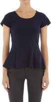 Navy stretch peplum tee
