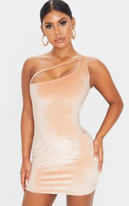 PrettyLittleThing Champagne Velvet One Shoulder Strap Detail