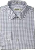 Haggar Men's End On End Check Point Collar Regular Fit Long Sleeve Dress Shirt