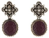 Stephen Dweck Carved Floral Amethyst Drop Earrings