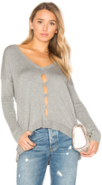 Central Park West Palm Springs V Neck Sweater in Gray