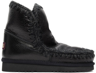 Mou Black Embossed 18 Ankle Boots