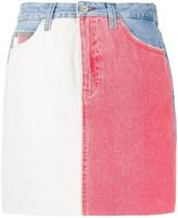 Tommy Jeans contrast panel denim skirt