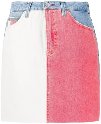 Tommy Jeans Contrast Panel Denim Skirt