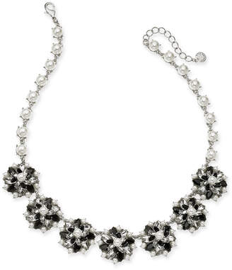 "Charter Club Silver-Tone Crystal, Stone & Imitation Pearl Cluster Statement Necklace, 17"" + 2"" extender"