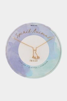 francesca's Cat Spirit Animal Pendant Necklace - Blue